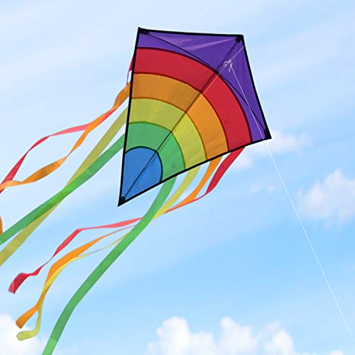 Homegoo Huge Colorful Kites, Large Easy Flyer Rainbow Kites for Adults Outdoor flying easily in strong or light winds 74 * 65cm