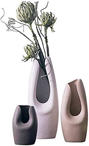 Vasi Vaso Plain Colori Ceramica Tavolo tavolino della Decorazione del Lato del Letto della Luce Fatti a Mano e Durevole 3 Pezzi Set di Piante Fiori Finti Fiori Vaso