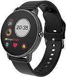 Reloj inteligente impermeable IP67 fitness tracker, pulsera inteligente táctil completa Bluetooth para Android lOS-P8 negro