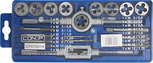 CON:P Gewindeschneid-Satz 20-teilig - Einschnittgewindebohrer & Schneideisen M3-M12 - Inkl. Zubehör - Zur Herstellung von Innen- & Außengewinden/Gewindeschneid-Werkzeug/Gewindebohrer / CP676014
