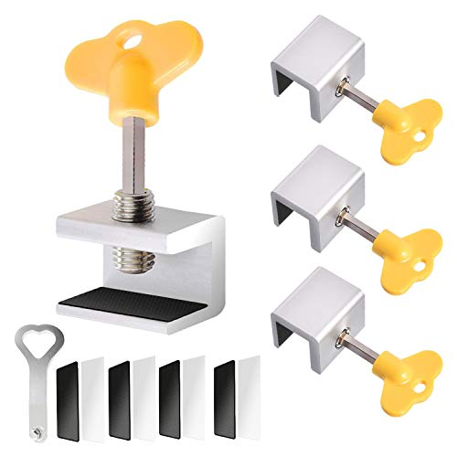 4 Sets Sliding Window Locks, Security Window Lock Aluminum With Key, Window Stoppers for Vertical & Horizontal Slide Door, Adjustable Security Locks, for Child Home Bedroom Double Hung Windows