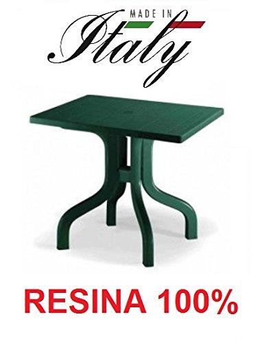 ALTIGASI Table Vert pour extérieur modèle Daytona Mesure 80 x 80 cm en résine Mesure 80 x 80 cm – Démontable – Fabriqué en Italie