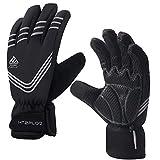 HTZPLOO Winter Bike Gloves Cycling Gloves for Men Waterproof&Windproof Biking Gloves Anti-Slip Shock-Absorbing Full Finger Flexible Bicycle Gloves (Gray-Full Finger, Large)