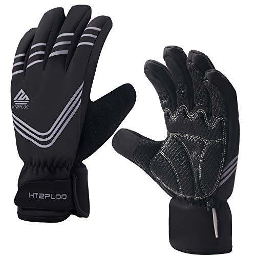 HTZPLOO Winter Gloves for Men Waterproof&Windproof with Shock-Absorbing Pad Anti-Slip Insulated Warm Gloves for Cycling Running Hiking Skiing (Gray-Full Finger, Medium)