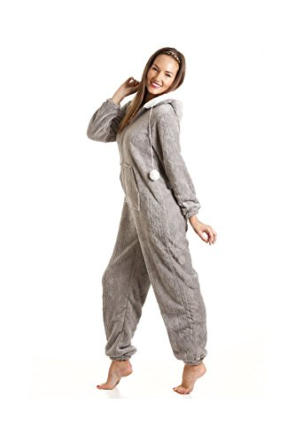 CAMILLE Druck Super Weiches Fleece Alles in Einem 38-40 Grey Nina Onesie