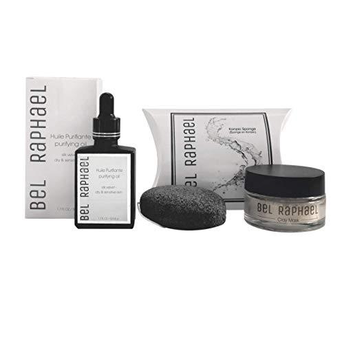 BEL RAPHAEL - Kit d'entretien et huile de nettoyage en velours - 2 en 1 - Masque d'argile et éponge Konjac pour les peaux mixtes et les peaux mixtes