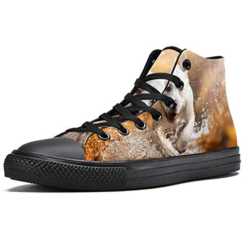 TIZORAX Running Dog On River High Top Sneakers Fashion Lace up Canvas Shoes Casual School Walking Shoe for Men Teen Boys