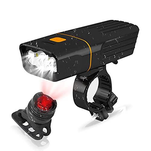 JINPXI Luz Bicicleta Recargable USB 2400mA,Funciona como Powerbank, Luces de Bicicletas IPX5 con Delantera y Trasera,Linterna Bicicleta 3 Modo, Luz LED Bicicleta,Bike Lights para Carretera y Montaña