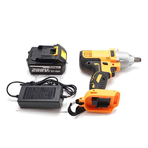GZA New 288VF 450Nm Cordless Electric Impact Wrench Drill Screwdriver 110-240V Power Tools with 10000mAh Li Battery (Color : With 1 battery, Plug Type : EU)