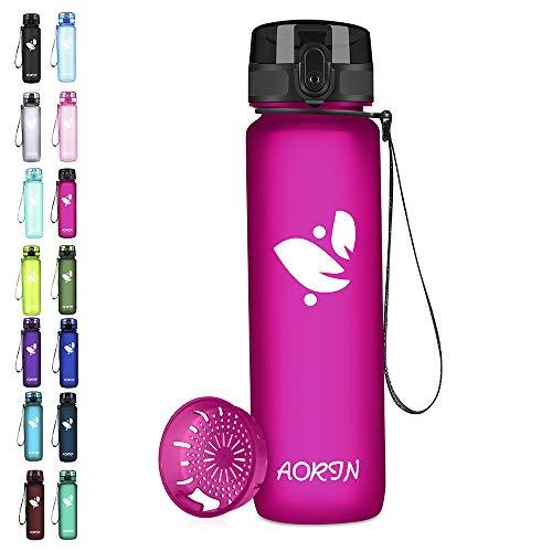 AORIN Sports Water Bottle - 350ml/500ml/750/1L,Tritan Gym Bottle BPA-Free& Drinking Bottles, Leakproof,One Click Flip Lid/Kids,Adults,Gym,Outdoor Sport (500ml-17oz, Fuchsia)