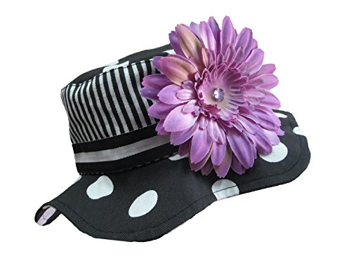 Jamie Rae Hats - Black with White Dot Sun Hat with Lavender Daisy, Size: 4-6Y