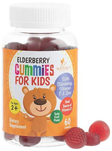 Elderberry Gummies for Kids Extra Strength Immune Support Gummy Vitamins with C and Zinc - Tasty Natural Sambucus Nigra - Best Children's Herbal Supplements - 60 Gummies