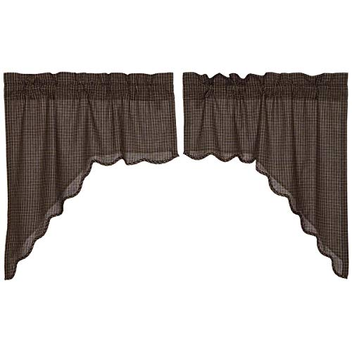 VHC Brands Kettle Grove Plaid Swag Scalloped Set of 2 36x36x16 Country Curtains, Country Black