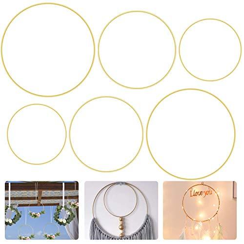metallringe,6 Stück 3 Größen (20cm/25CM/30CM) Traumfänger Ringe,DIY Weihnachtskranz,drahtringe zum basteln,Metallringe Drahtringe,Metallring zum Basteln,Makramee-Ring-Set,Basteln für Traumfänger(A)