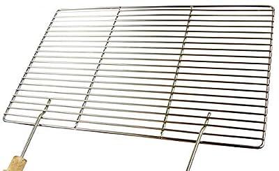 Edelstahl Grillrost 60x40cm + 2 Griffe Qualitätsedelstahl V2A, Stäbe mit 4mm !!!, stabile & schwere Ausführung