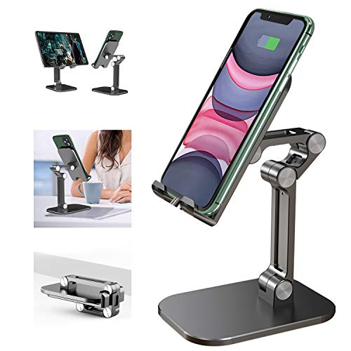 Cell Phone Stand, 120° Angle Height Adjustable iPhone Stand for Desk, Foldable Cell Phone Holder iPad Tablet Stand Compatible with iPhone 11 12 Pro Max XR SE Smartphone/iPad/Kindle/Tablet