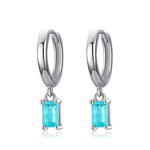 XCWXM Exquisite Tourmaline Hoop Earrings Fashion Real 925 Sterling Silver Rectangle Paraiba Earring For Women Christmas/Valentine Gifts for Girls