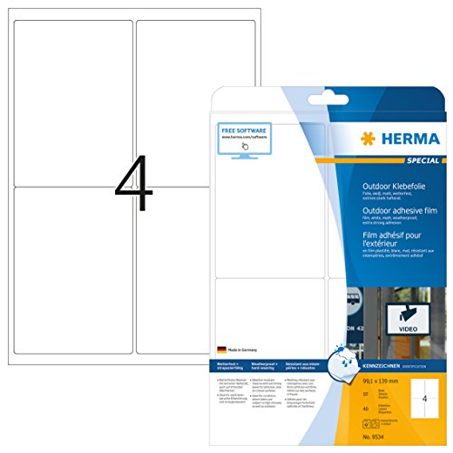 HERMA 9534 Wetterfeste Folien-Etiketten DIN A4 (99,1 x 139 mm, 10 Blatt, Polyethylen, matt) selbstklebend, bedruckbar, extrem stark haftende Outdoor Klebefolie, 40 Klebeetiketten, weiß