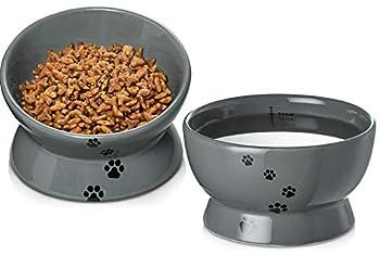 Y YHY Lot de 2 gamelles surélevées pour chat et eau, inclinées et surélevées, sans renversement, en céramique, pour chats et chiens de petite taille, gris