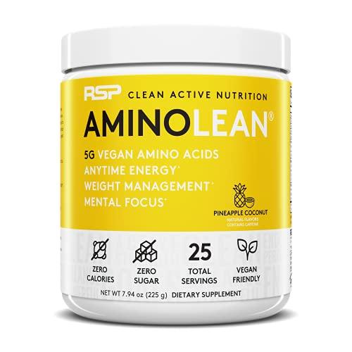 RSP Vegan AminoLean – Pré-treino natural com BCAAs veganos, AminoEnergy, Gerenciamento de peso, Recuperação e Foco, 25 doses, Coco de Abacaxi