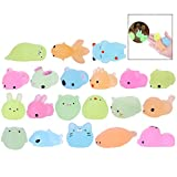LHKJ 20 Pcs Figurines animales Squishy Petit Animaux Anti Stress Reliever Jouet (Multicolore)