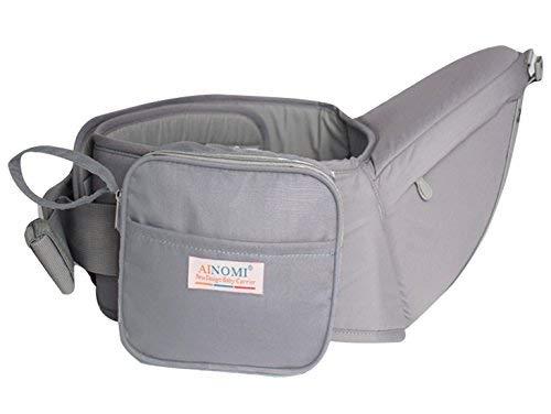 Ainomi Taburete de Cintura Portabebé Asiento de Cadera Cintura con Bolsillos pequeños Multifunciones para 3-36 Meses Bebés - Color Gris