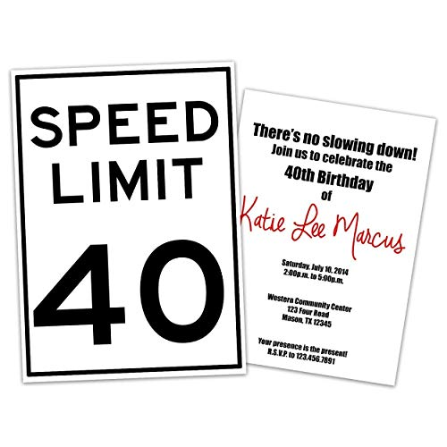 Party Print Expressfunny Speed Limit Birthday Invitations Man Woman 30th 40th 50th 60th 70th 80th Any Age Dailymail