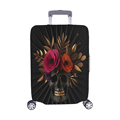 Lawenp 3 D Render Floral Skull Red Paper Spandex Trolley Case Travel Luggage Protector Suitcase Cover 28.5 X 20.5 Inch