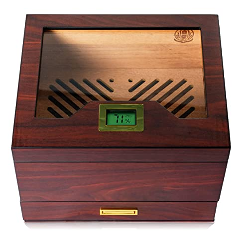 Hugo's Cigar Humidor Box - Cigar Case 35 to 60 Cigars - Antique Box with Digital Hygrometer, Humidity Pack Holder, Magnetic Lock - Elegant Humidor Cigars with Gift Box