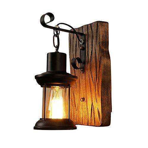 VOMI Lámpara de Pared Vintage Negro Diseño Industrial E27, Apliques de Pared Hecho de Madera y Hierro, Para Dormitorio Sala De Estar Comedor Pasillo Escalera (Sin Bombilla)