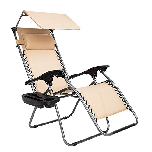 Outdoor Leisure Chair Patio Lounge Recliners/Zero Gravity Lounge Chair with Awning/for Poolside Yard Beach Backyard Lawn/Khaki