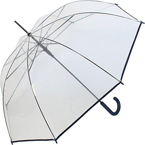 Regenschirm durchsichtig transparent mit Einfassband Griff Navy