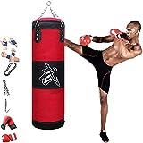 YZBBSH Saco de Boxeo Adulto Sacos de Boxeo Pesado 60cm/ 80cm/ 100cm/ 120cm/ 150cm con Kit de Boxeo, Punching Bag para MMA Muay Thai Kick Boxing Boxeo Karate (Sin Relleno),Rojo,150cm