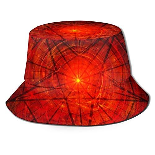 XCNGG Sombrero de Pescador Unisex para Adultos con Pentagrama satánico Rojo, Gorra de Sol Plegable, máxima protección para los Rayos UVA, Pesca, jardinería, Senderismo, Acampada, Talla única