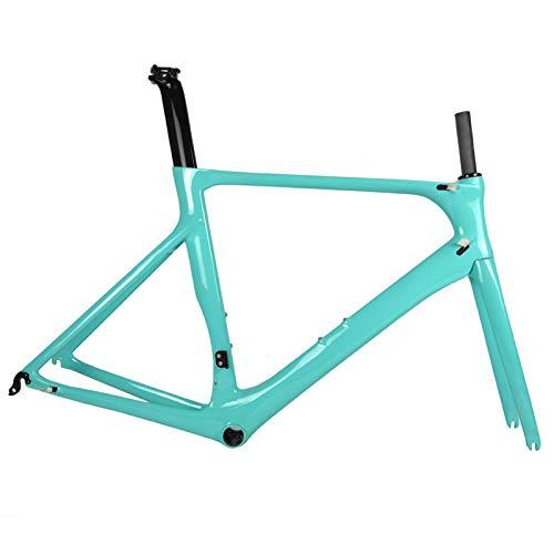 TQ Cuadro Completo de Bicicleta de Carretera de Carbono DI2 y maquinaria Juego de Cuadros de Carbono de Bicicleta de Carretera Racing BB86 50.5/53 / 56cm,Celesteglossy,50cm