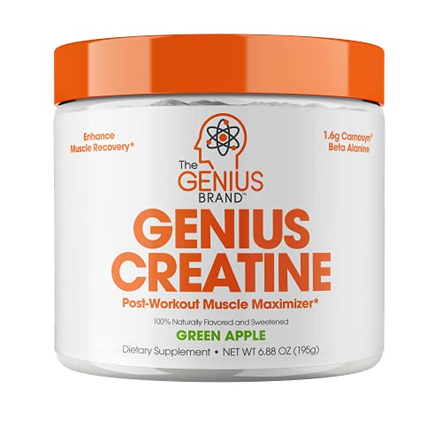 Genius Creatine Powder, Post Workout Supplement For Men and Women with Creapure Monohydrate, Hydrochloride Hcl MagnaPower and Carnosyn Beta-Alanine SR, Natural Lean Muscle Builder