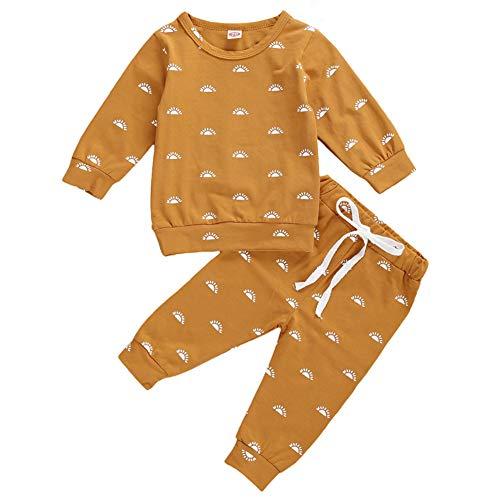 Geagodelia Babykleidung Set Baby Jungen Mädchen Sonne Kleidung Outfit Langarmshirt Top + Hose Neugeborene Kleinkinder Weiche Babyset Khaki (6-12 Monate)