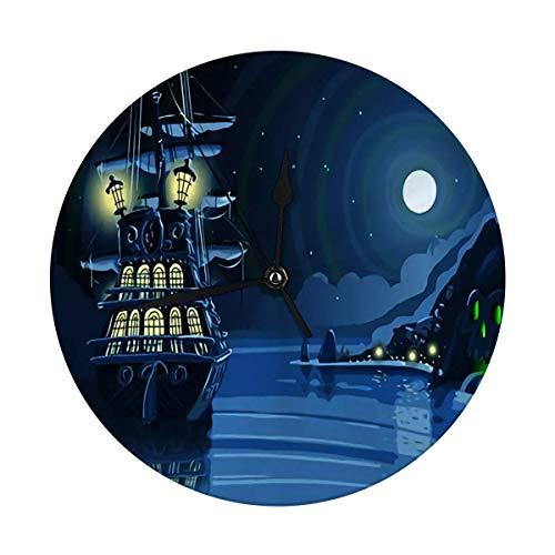 Mesllings Reloj de pared con diseño de isla de aventura nocturna con galeón pirata y anclado, 24,8 cm