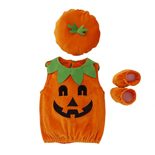 Baby Halloween Pumpkin Costume, Infant Baby Girl Boy Halloween Fancy Clothes Pumpkin Costume Outfit With Hat, Baby Photography Props Costume Outfits Cute Hat, Kids Ghost Pumpkin Fancy Dress Outfit