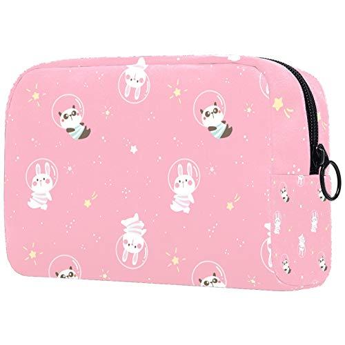 Bolsa de maquillaje portátil para mujeres y niñas con cremallera de dibujos animados panda y conejo