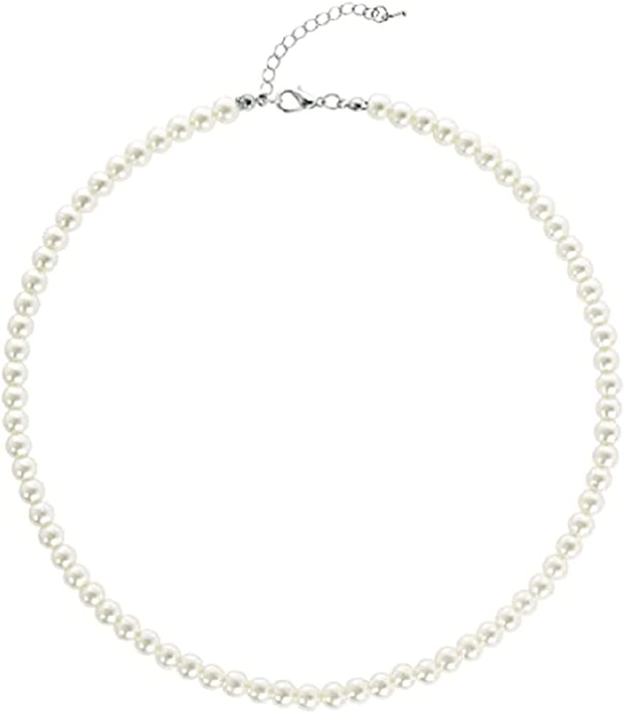 Round Imitation Pearl Necklace Wedding Bride White Pearl Necklace