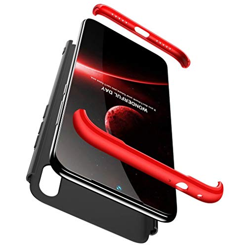 FHXD Compatible con Funda Xiaomi Redmi Note7 Anti-Shock 360° Carcasa Case Cover Protectora Ultra Thin Anti-Scratch 3 in 1 Caso Cáscara Protectora-Rojo Negro