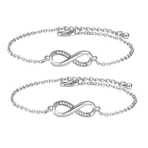 GOUPPER 2 stks Handboeien Ketting Armband Mode Sieraden Eenvoudige Link Chain Bangle Vrouwen Armband Gift Dames Sieraden (Goud)