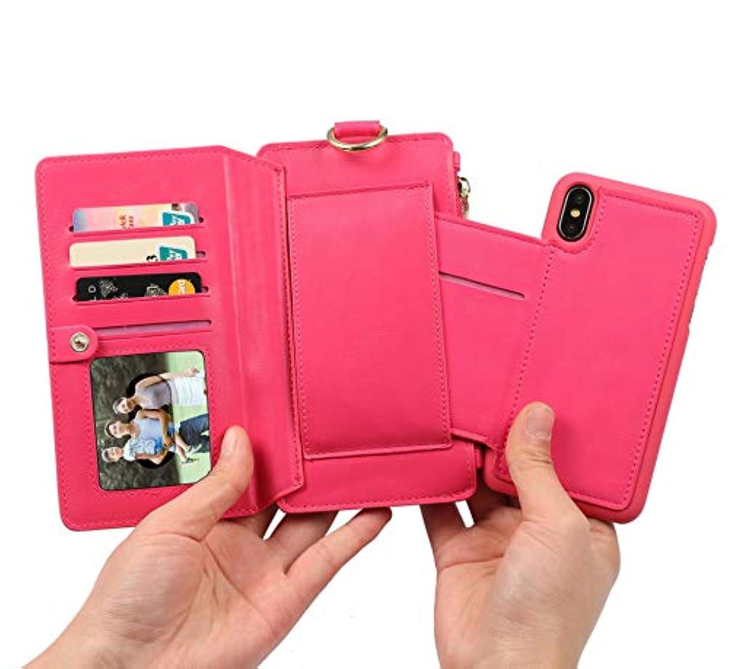 優れました申請者予報iPhone 8 Plus パソコンExit包保護套 - 折りたたみ保護袖 - 立ちブラケット-ビジネススタイル-全身保護-内殻金属リング-12札入れ-相枠-取り外し可能な電話ケース財布 5.5インチiPhone 7 Plus/iPhone 8 Plusに適し、ホトピンク