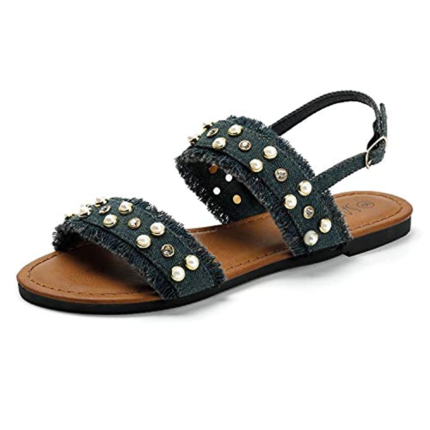 SANDALUP Open Toe Denim Flat Sandals with Pearls and Rhinestone Rivets for Women