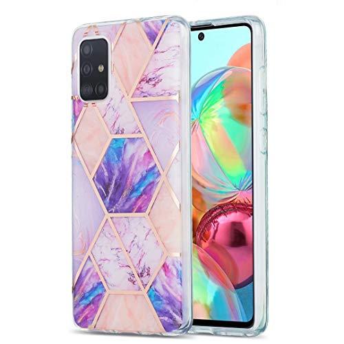 Xiaomi Poco X3 NFC-Hülle, ultradünn, glitzernd, Marmor-Stein-Muster, glänzend, Hybrid-Hülle, weiche Rückseite, TPU-Gummi-Gel-Schutzhülle, stoßfest, für Xiaomi Poco X3 NFC Violett