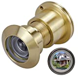 YINGJI Door Viewer Peephole, Solid Brass 220-degree Door Viewer with Heavy Duty Rotating Privacy Cover for 1-3/8' to 2-1/6' Doors for Home Office Hotel (Satin Gold)