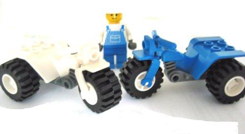 LEGO City - 2 seltene Motorräder (1x Weiss + 1x blau) - Trike - Motorrad - Dreirad + 1 Monteur