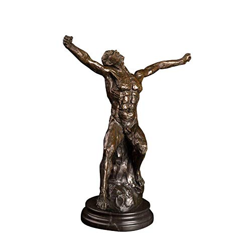 ZAQWSXCDE Statuen Dekoration Statue Tier Polyresin Dekofigur Bronze Kunst Dekor Bronze Schreien Muskelmann Statue Skulptur Für Büro Dekoration