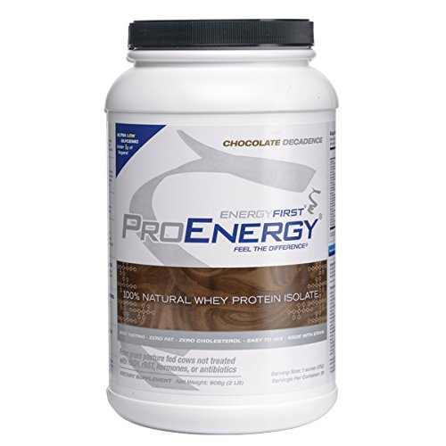 ProEnergy Chocolate Whey Protein Isolate Powder | 100% Natural | Grass Fed | Non-GMO | Undenatured | Low Carb | Lactose Free | Meal Replacement, Pre/Post Workout - 2 lb. Jar by EnergyFirst